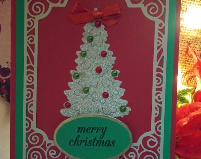Handmade Christmas Card White On Red, White ChristmasTree With Scroll Borders, 4.25 × 5.5. Free Shipping Eligible