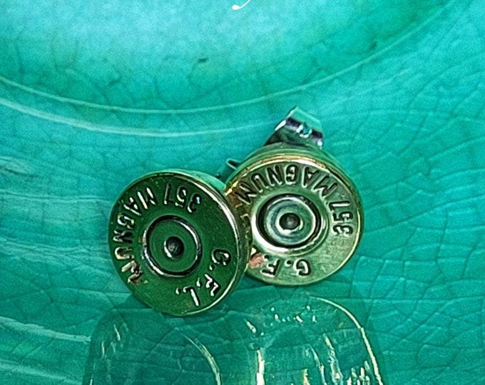 Handmade, .357 Magnum, Bullet Stud Earrings, Handmade Sterling Silver Ear Posts TwistedByKen TBK090121