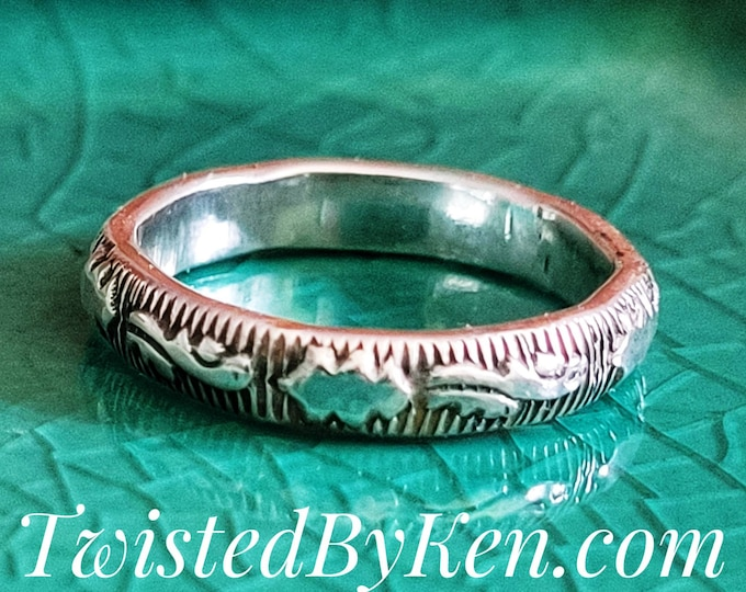 Handmade, Scroll & Leaf Patterned, Sterling Silver Ring, Stackable, Fashioned From 8 Gauge Wire. 4mm, 5/32nds Wide Twisted By Ken TBK051621