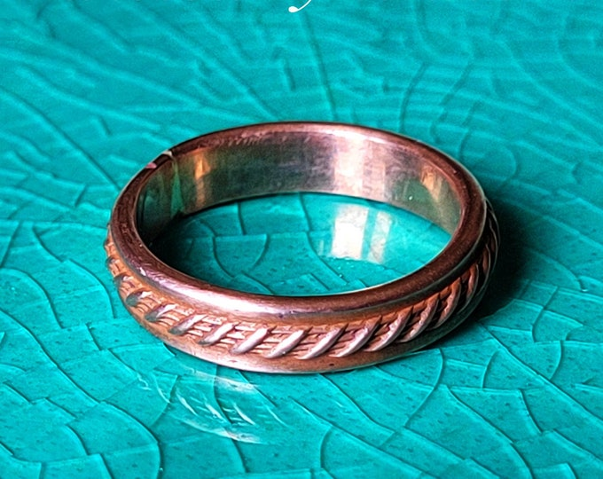Handmade, Twine Patterned, Antiqued Copper Ring, Stackable, Fashioned From 8 Gauge Wire. 4.25mm, 11/64th Inch Wide Twisted By Ken TBK082421