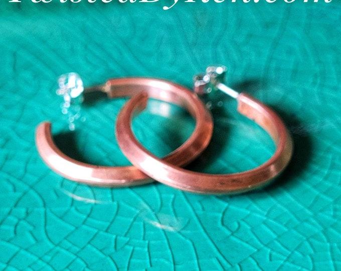 Handmade Antiqued Copper Hoop Earrings, 1 Inch Diameter, Handmade Sterling Silver Ear Posts, Free Shipping TwistedByKen TBK081921