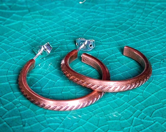 Handmade Antiqued Copper, Patterned Hoop Earrings,  1 Inch Diameter, Handmade Sterling Silver Ear Posts Free Shipping TwistedByKen TBK082121