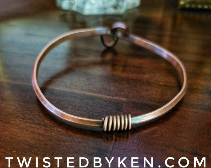 Copper Bangle Bracelet, A Wire Wrap & Loops Accent, Handmade, Antiqued Copper, Natural Patina, 5/32in 4mm Width, TBK060821