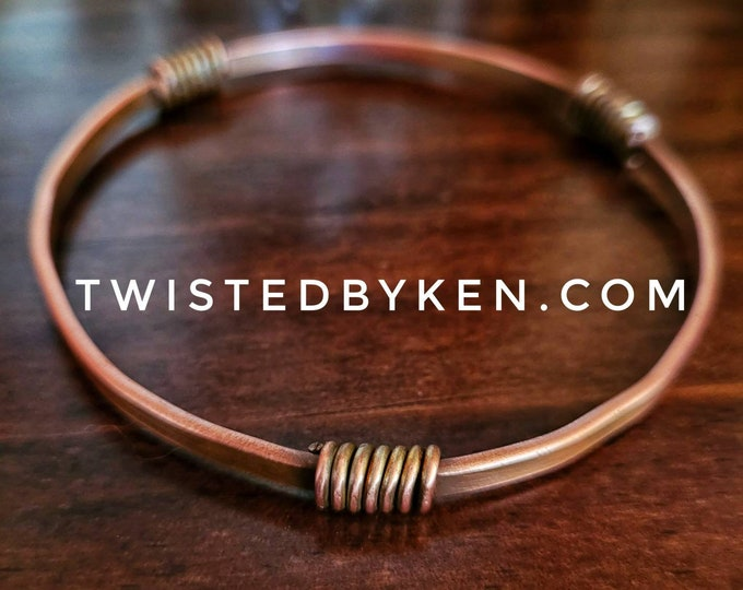 Copper Bangle Bracelet, 3 Wire Accents, Handmade, Antiqued Copper, Natural Patina, 5/32in 4mm Width, TBK060721