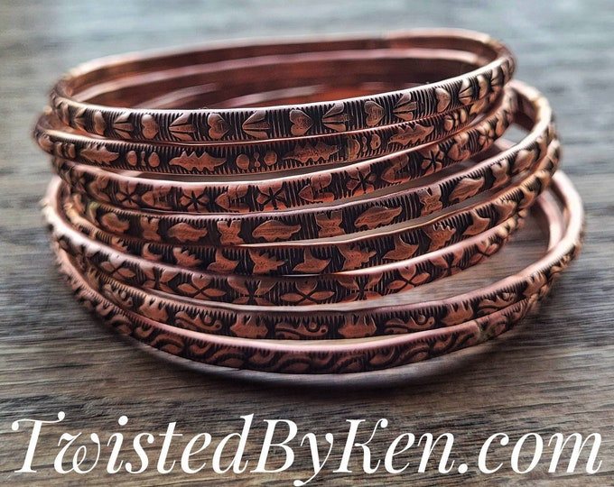 Patterned Copper Bangle Bracelets, Handmade, Antiqued Copper Patina, 5/32in 4mm Width, 8 Patterns To Choose From, Sized To Fit TBK060821