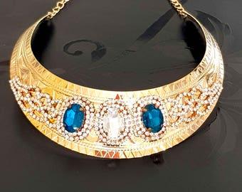 Medieval inspired bib necklace