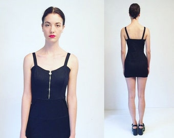 30%OFF Vtg Gianni Versace Versus Black Stretchy Mini Dress