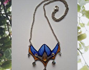 Fantasy bib necklace, bib necklace, statement bib necklace, handmade necklace, canvas necklace, handmade gift, small bib necklace