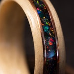 Maple Steam Bentwood Ring with Two Copper Wire or Brass Wire Inlays with a Center Inlay Mixture of Black Fire Opal and Space Titanium Opal