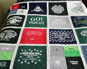 DOUBLE SIDED Tshirt Quilt-Custom made from YOUR Tshirts (deposit)