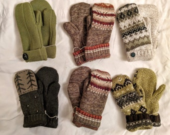 Sweater Mittens // recycled // Hand Sewn Mittens //  fleece-lined // hand made gift // green mittens