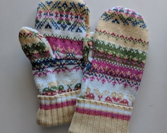 Sweater Mittens // recycled // fleece-lined // Hand Sewn Mittens //  hand made gift  // yellow mittens
