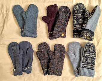 Sweater Mittens // recycled //hand sewn mittens // fleece-lined // hand made gift // Blue mittens