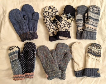 Sweater Mittens // recycled // Hand Sewn Mittens // fleece-lined // hand made gift