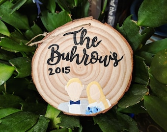 Hand painted wood round ornament // family ornament //custom ornament // family portrait ornament // Christmas ornament // Family name