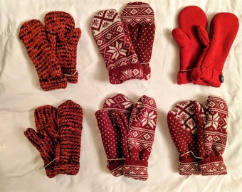 Sweater Mittens // recycled // Hand Sewn Mittens // fleece-lined // hand made gift // red mittens