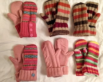 Hand Sewn Mittens // Sweater Mittens // recycled // fleece-lined // hand made gift // pink mittens // children mittens
