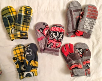 Sweater Mittens // recycled // Hand Sewn Mittens // fleece-lined // hand made gift // packer mittens // badger mittens