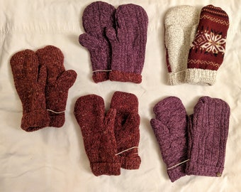 Sweater Mittens // recycled // Hand Sewn Mittens // fleece-lined // hand made gift // red mittens // purple mittens