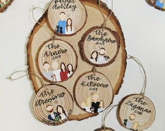 Hand painted wood round ornament // custom magnet // family ornament //custom ornament // family portrait ornament // Christmas ornament