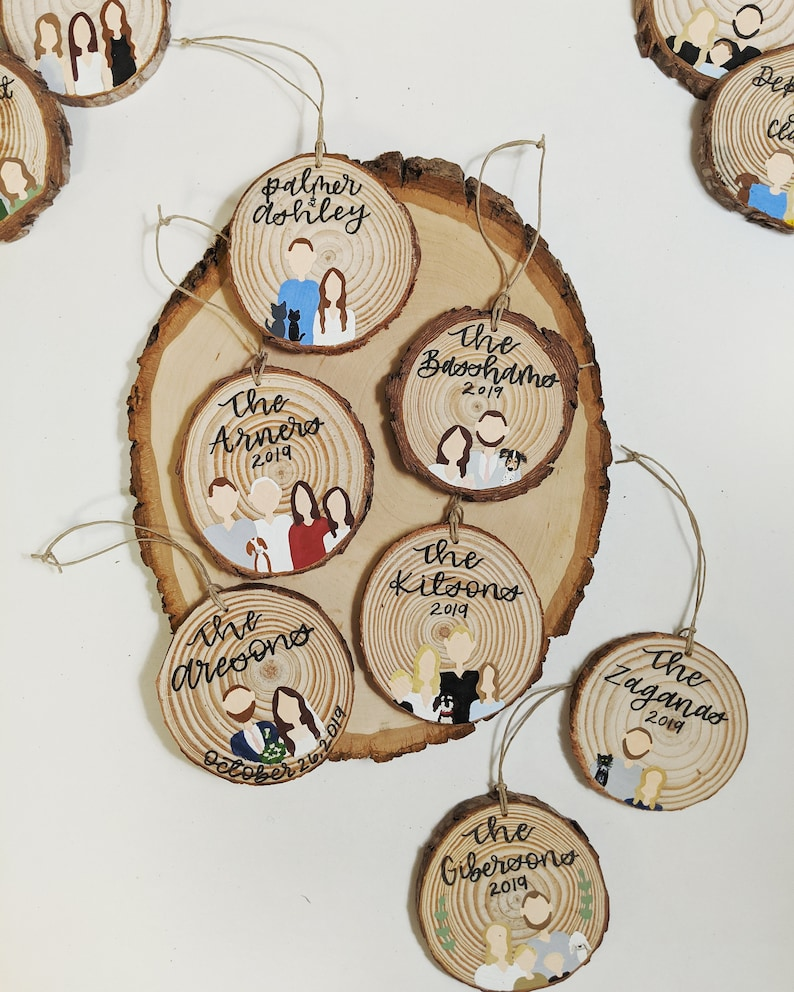 Nothing is better than a wood item for a 5-year anniversary gift, and this wood round ornament is not a bad choice. Your family portrait is manually painted with the high-quality guarantee.