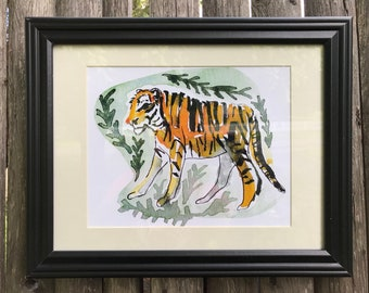 Rosemont Gifford Zoo Tiger - Limited edition giclée print of an original watercolor painting.