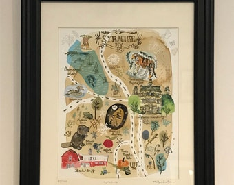 Illustrated Map of Syracuse, NY - Limited edition giclée print of an original painting.