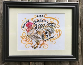Joyful Hen - Limited edition giclée print. Perfect for the kitchen!