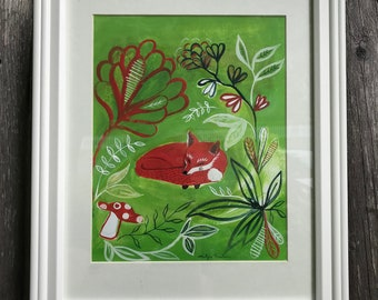 Sleepy Fox -  Limited edition giclée print of original gouache painting. Perfect for a nursery or baby shower gift.