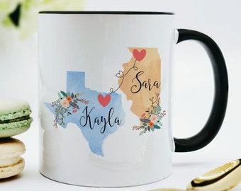 Miss You Gift / Two State Mugs / Long Distance Mug / Personalized State Mug / Friendship Mug / Penpal Gifts / Missing You Gifts