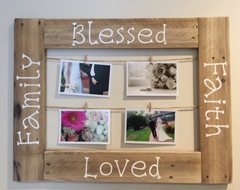 Rustic Clothes Pin Picture Frame Made From Reclaimed Pallet Wood Perfect Housewarming Gift Mothers Day Or Wedding Shower