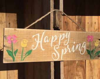 Spring pallet sign, Spring decor, Happy spring pallet art