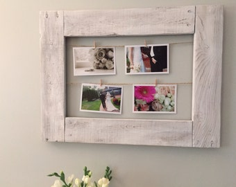 Rustic clothes pin picture frame made from reclaimed pallet wood I Wedding shower gift Mother's Day gift Christmas gift