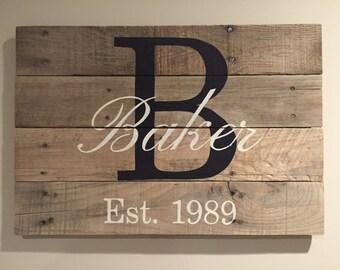 Family name sign, Last name sign, Family name established sign, Family Monogram wood sign, wedding gift, housewarming gift