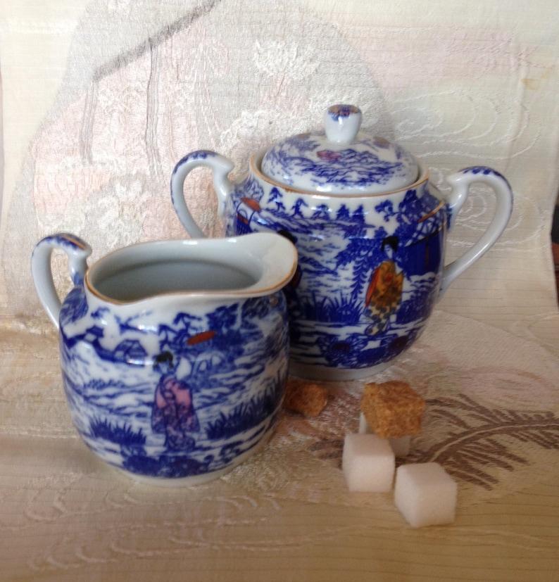 Imari/Arita Japan Poly Chrome Export Blue Polychrome Transfer-Ware Footed  Covered Sugar Bowl Creamer Dai Nippon Old Japan Mark
