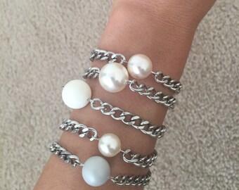 Swarovski Crystal Glass Pearl Stackable Chain Bracelet