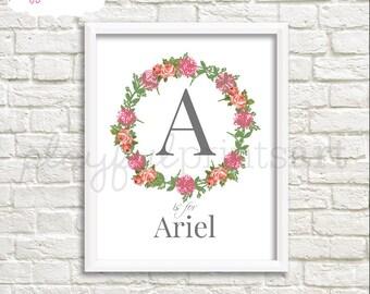 Custom Flower Wreath Monogram Print, 8x10, Digital  Download