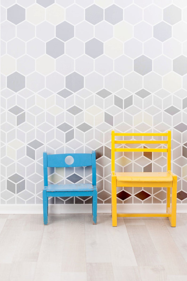 Cube Wall Geometric Tile Small Allover Hexagon StencilEtsy eodWQCxBr