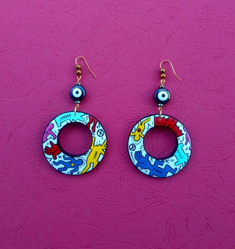 Handmade painted earrings.Keith Haring Art Painted Wooden Round Earrings.Handmade painted Jewelry Gift.Pop art painting.Painted wood earring