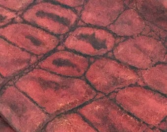 """Red Croco Embossed / Red Leather / Crocodile Embossed Leather / Alligator Embossed Leather / HH113 / Red Croco / Red Leather / 21"""" x 38"""""""