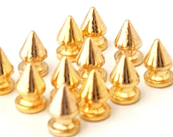 GOLD Tree Spikes 12mm / Metal Spikes / Studs and Spikes /  Tree Spikes / 12mm Spikes / Screw in Spikes / SET  of TWELVE