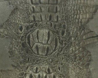 """Alligator Embossed Suede / Taupe Leather / Gray Leather / Embossed Suede / Embossed Leather / Gray Suede / Taupe Suede /  12.5"""" x 12.5"""""""
