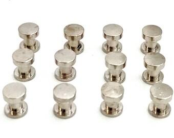 Screwback Rivets Silver / TWELVE / 6mm Studs / Screw Back Studs / Screw In Rivets / Studs and Spikes / Leather Embellishment / SET of TWELVE