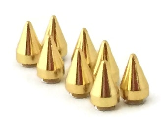 GOLD Spikes 15mm  / Metal Spikes / Studs and Spikes / Cone Spikes / Gold Spike / 15mm Spikes / Screw Spikes / Cone Spike / SET of EIGHT