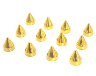 Gold Spikes 9mm / Metal Spikes / Studs and Spikes / Cone Spikes / Spikes / 9mm Spikes / Screw in Spikes / Cone Spike / SET OF TWELVE