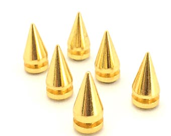GOLD Spikes 19mm / Metal Spikes / Studs and Spikes / Gold Cone Spikes / Gold Spikes / Screw in Spikes / Cone Spikes / SET of FIVE