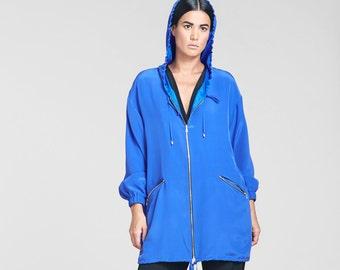 Neon Blue Silk Parka // Hooded Long Silk Jacket // Garey Parka - Sample Sale + Ready to Ship