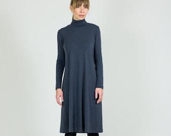 Charcoal Gray Merino Wool Dress  Turtleneck Dress With Sleeves  A-Line Knee Length Dress  Sample Sale