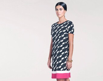 Sample Sale //Bridgette Printed Silk Dress // Short Sleeve Dress // Knee Length Dress//Same Day Shipping