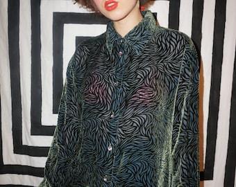 9aad0d4e6c8ca Vintage 90s Green Velvet Mesh Burnout Pattern Shirt